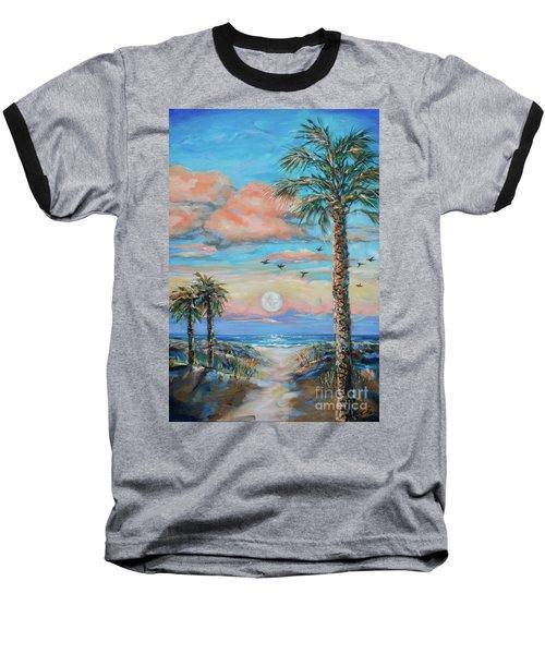 Pink Moon Rise Baseball T-Shirt by Linda Olsen