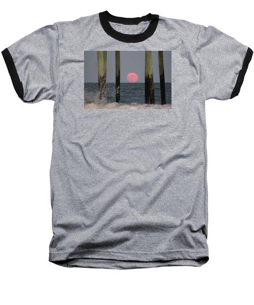 Pink Moon Rising Baseball T-Shirt by Robert Banach