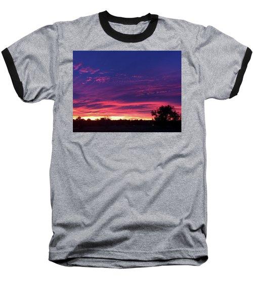 Pink On Blue Baseball T-Shirt