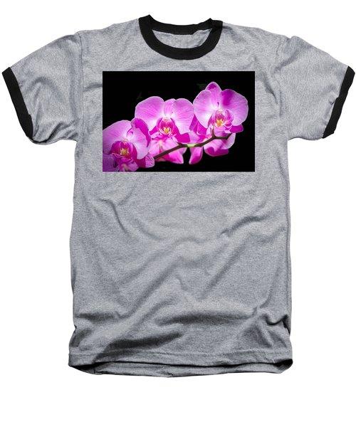 Pink Orchid Flora Baseball T-Shirt