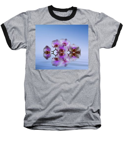 Pink Orchids Blue Background Baseball T-Shirt by David French