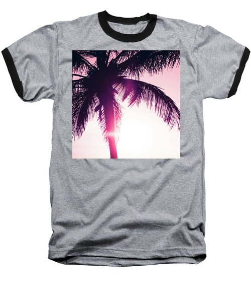 Baseball T-Shirt featuring the photograph Pink Palm Tree Silhouettes Kihei Tropical Nights by Sharon Mau