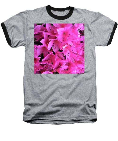 Baseball T-Shirt featuring the photograph Pink Passion In The Rain by Sherry Hallemeier