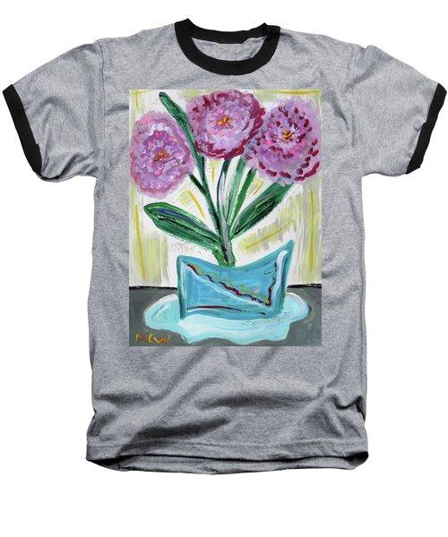 Pink Peonies-gray Table Baseball T-Shirt