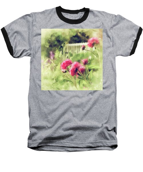 Baseball T-Shirt featuring the digital art Pink Peonies In A Vintage Garden by Lois Bryan