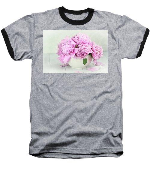Pink Peonies Baseball T-Shirt by Stephanie Frey