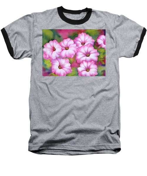 Pink Petunias Baseball T-Shirt
