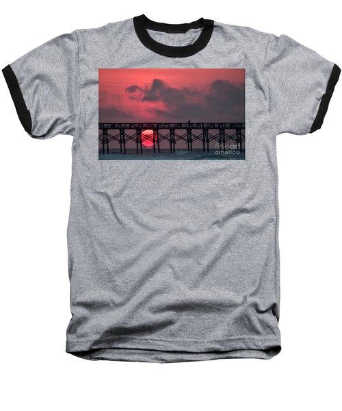 Pink Pier Sunrise Baseball T-Shirt