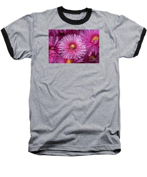 Pink Pigface Flowers Baseball T-Shirt