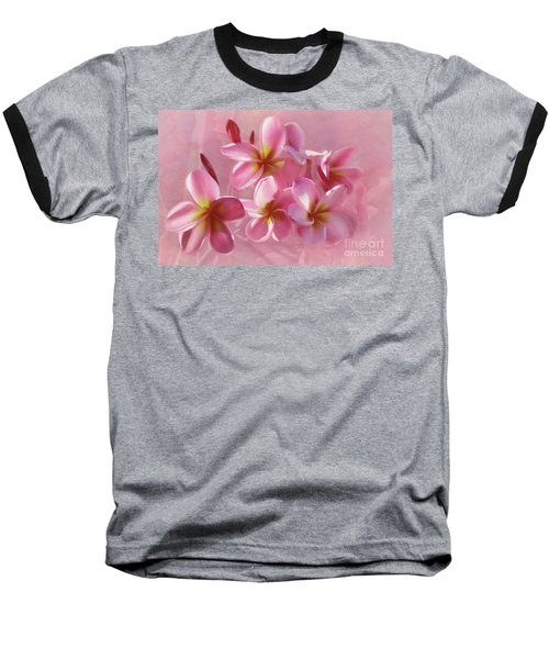 Baseball T-Shirt featuring the photograph Pink Plumeria Pastel By Kaye Menner by Kaye Menner