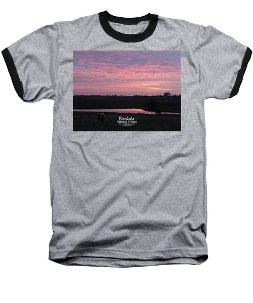 Pink Pond And Cow #5110 Baseball T-Shirt