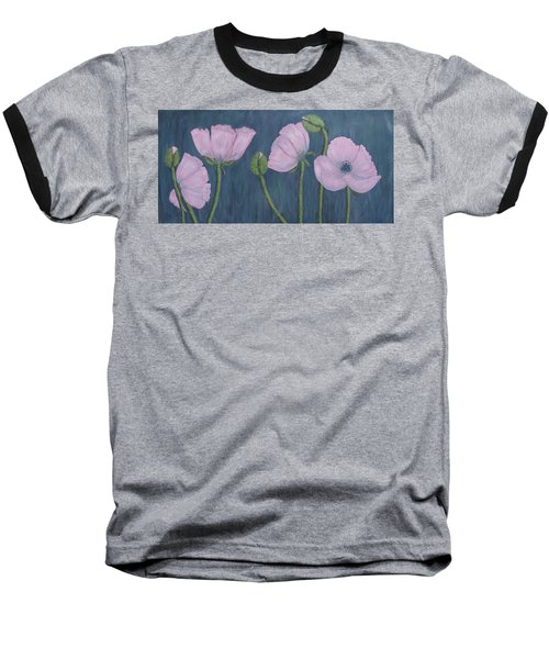 Pink Poppies Baseball T-Shirt