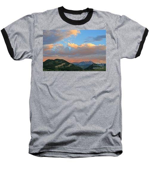 Baseball T-Shirt featuring the photograph Pink Rain Over The Sleeping Indian by Paula Guttilla