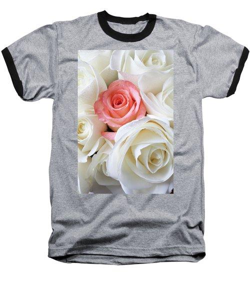 Pink Rose Among White Roses Baseball T-Shirt
