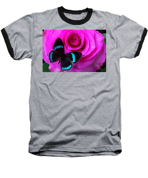 Pink Rose And Black Blue Butterfly Baseball T-Shirt