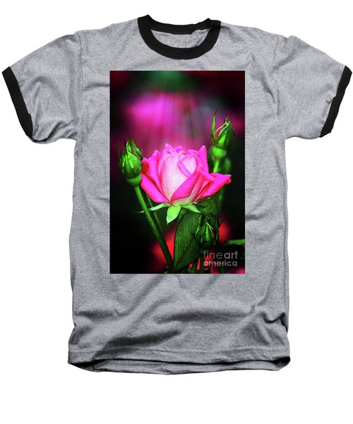 Pink Rose Baseball T-Shirt by Inspirational Photo Creations Audrey Woods
