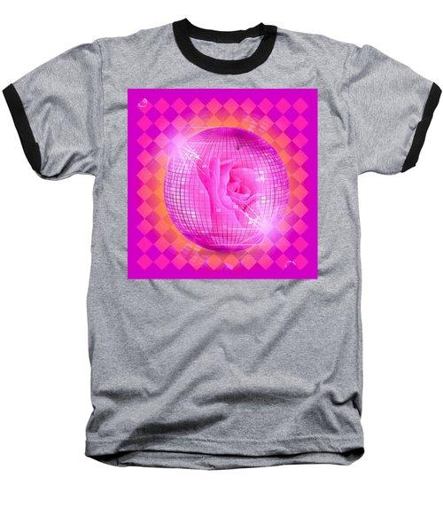 Pink Rose In Globe Baseball T-Shirt