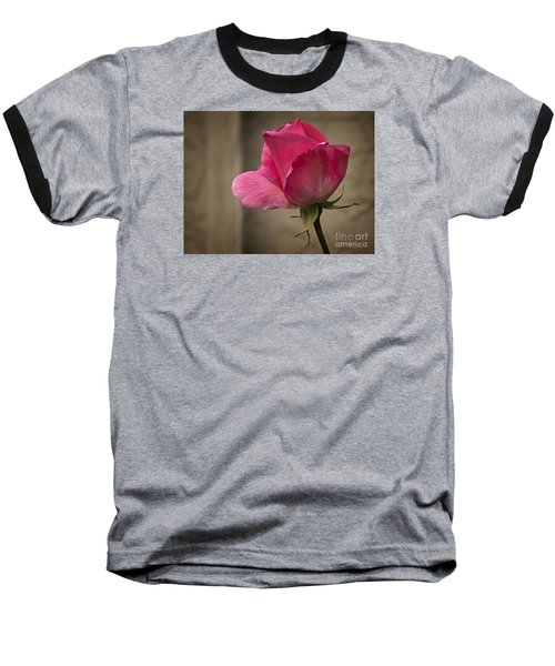 Baseball T-Shirt featuring the photograph Pink Rose by Inge Riis McDonald