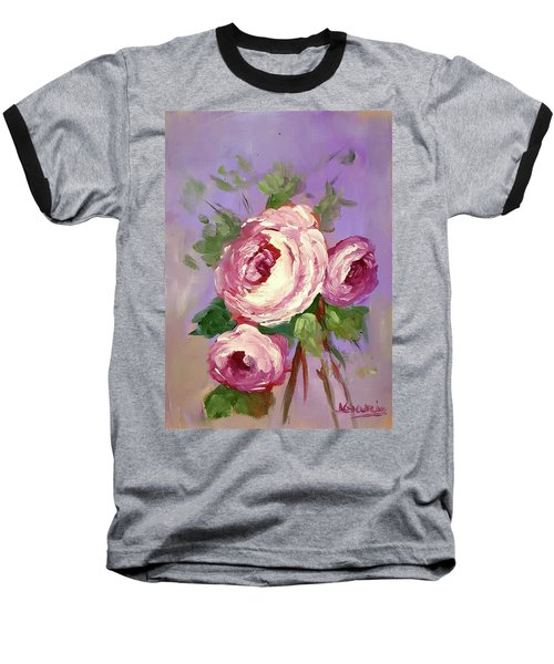 Pink Rose Baseball T-Shirt