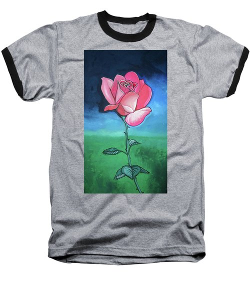 Baseball T-Shirt featuring the painting Pink Rose by Mary Ellen Frazee