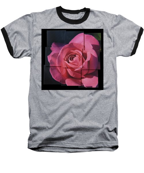 Pink Rose Photo Sculpture Baseball T-Shirt