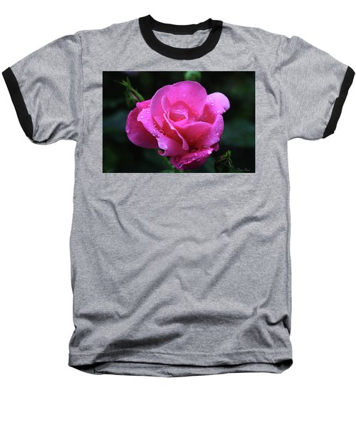 Pink Rose With Raindrops Baseball T-Shirt