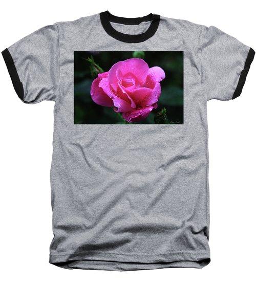 Pink Rose With Raindrops Baseball T-Shirt