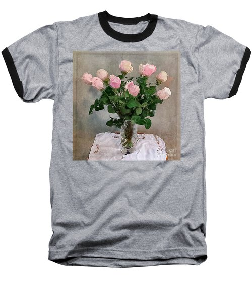 Baseball T-Shirt featuring the digital art Pink Roses by Alexis Rotella