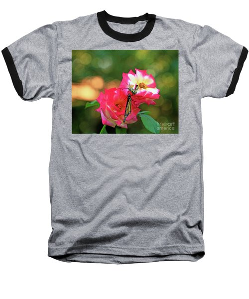 Pink Roses And Butterfly Photo Baseball T-Shirt