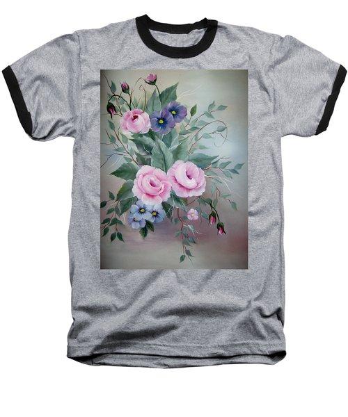 Pink Roses Baseball T-Shirt
