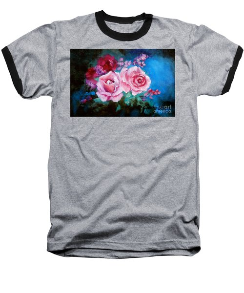 Pink Roses On Blue Baseball T-Shirt by Jenny Lee