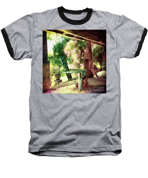 Baseball T-Shirt featuring the digital art Pink Roses On The Porch by Lois Bryan