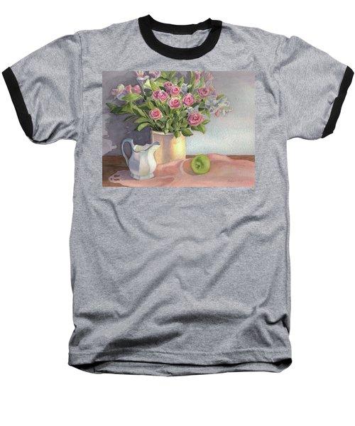 Baseball T-Shirt featuring the painting Pink Roses by Vikki Bouffard