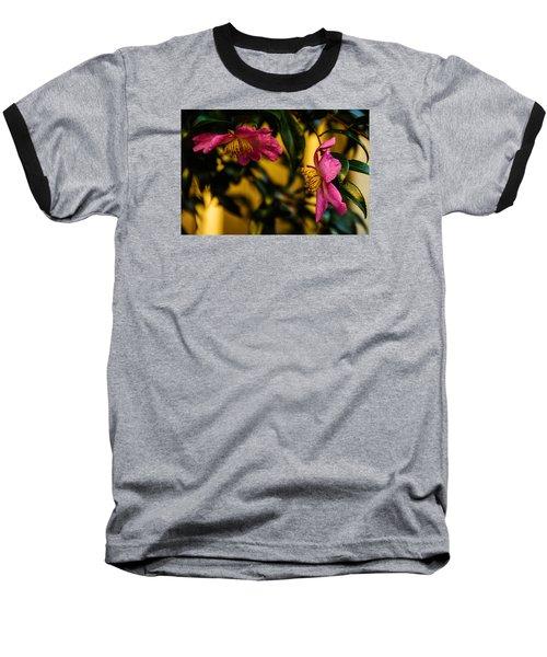 Baseball T-Shirt featuring the photograph Pink Sasanquas  by John Harding