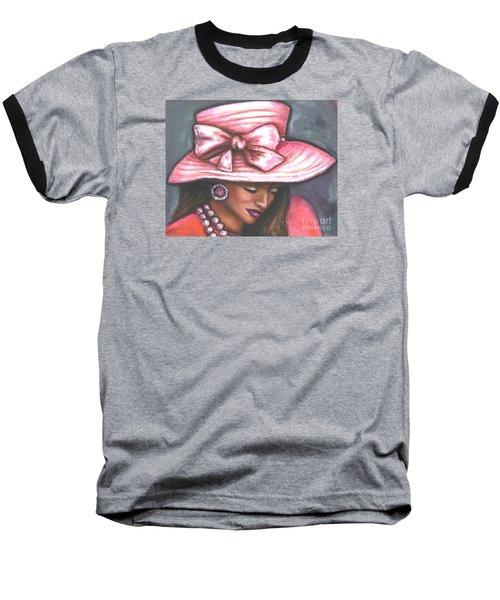 Pink Satin Hat Baseball T-Shirt by Alga Washington