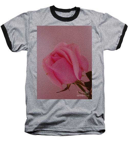 Pink Single Rose Baseball T-Shirt