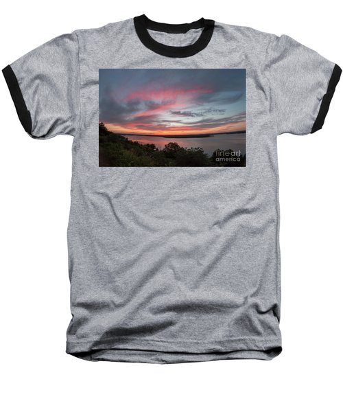 Pink Skies And Clouds At Sunset Over Lake Travis In Austin Texas Baseball T-Shirt