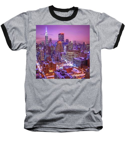 Pink Sky Above New York City Baseball T-Shirt
