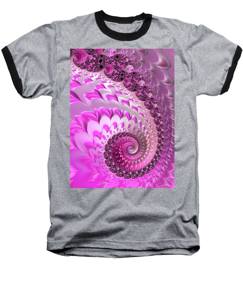 Pink Spiral With Lovely Hearts Baseball T-Shirt
