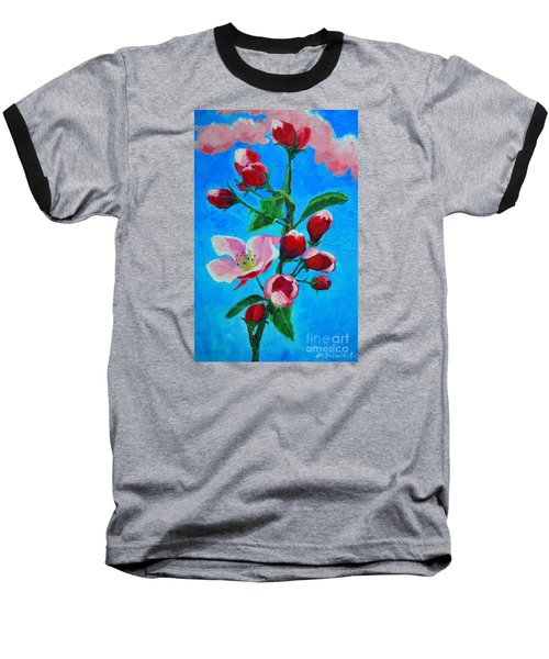 Baseball T-Shirt featuring the painting Pink Spring by Ana Maria Edulescu