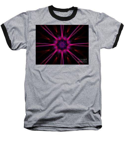 Pink Starburst Fractal  Baseball T-Shirt
