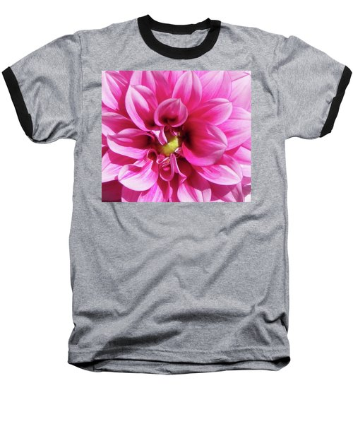 Pink Summer Flower Macro Baseball T-Shirt