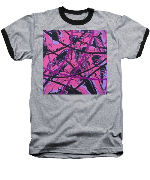 Pink Swirl Baseball T-Shirt by Teresa Wing