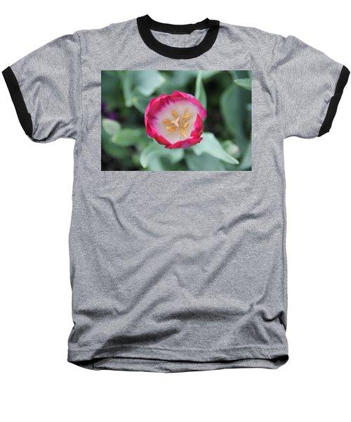 Pink Tulip Top View Baseball T-Shirt
