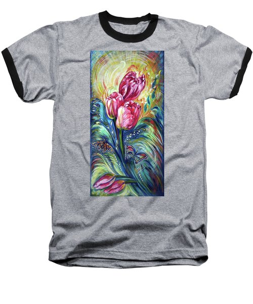 Pink Tulips And Butterflies Baseball T-Shirt