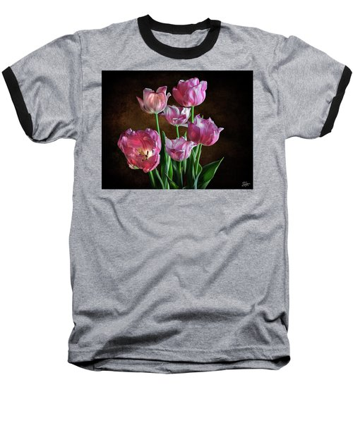 Pink Tulips Baseball T-Shirt