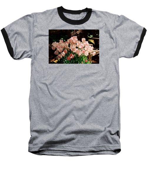 Pink Tulips Baseball T-Shirt