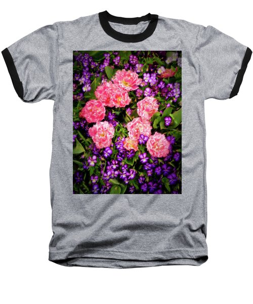 Baseball T-Shirt featuring the photograph Pink Tulips With Purple Flowers by James Steele