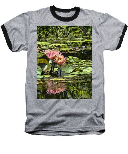 Pink Water Lily Reflections Baseball T-Shirt by Bill Barber