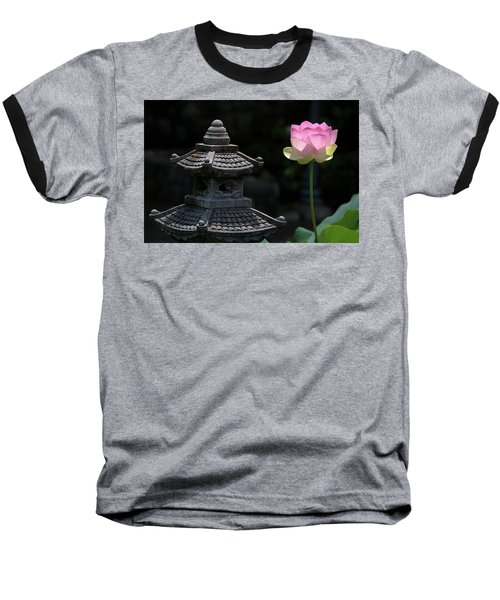 Pink Water Lily With Black Background Baseball T-Shirt